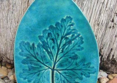 Large geranium leaf in blue-green