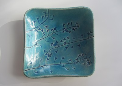 Turquoise bowl with shepherd's purse